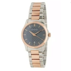 GUCCI G-Timeless Grey Dial Two-Tone Watch, 27mm